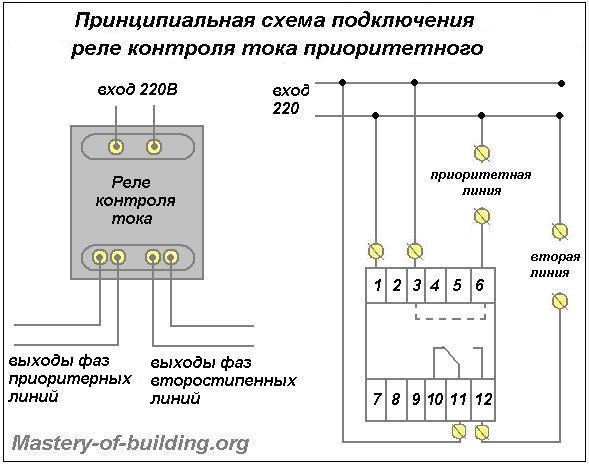 Схема подключения реле контроля тока