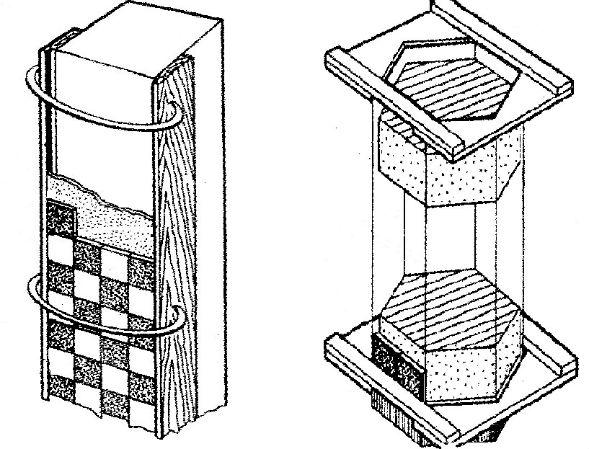 Облицовка колонн по шаблону