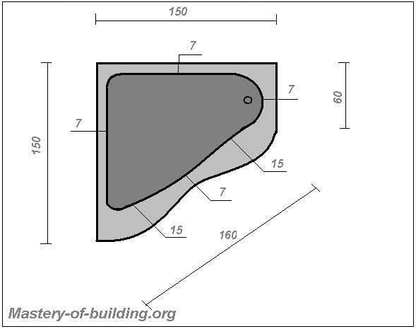 Размеры ванны из бетона своими руками