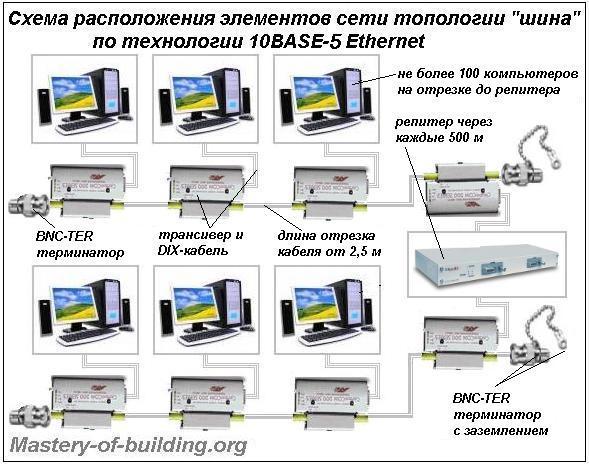 монтаж домашней локальной компьютерной сети топологии шина по технологии 10BASE5 ethernet