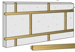 Изготовление рустов деревянной обрешеткой