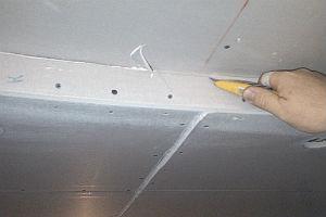 подготовка линейных и радиусных гипсокартонных деталей - расшивка швов