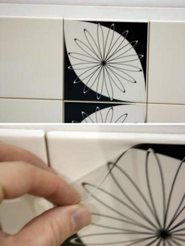 Декорирование старой кафельной керамической плитки виниловой пленкой (декупаж)