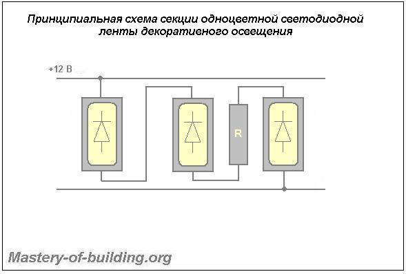 Схема секции одночиповой светодиодной одноцветной ленты