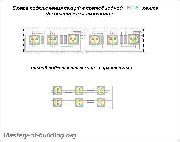 Схема подключения секций в многоцветной трехчиповой RGB светодиодной ленте