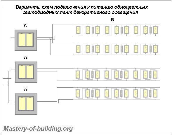 схема питания светодиодной ленты на одночиповых светодиодах
