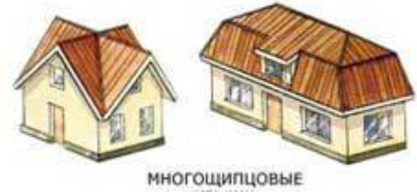 Види і особливості пристрою покриттів багатощипцевих конструкцій дахів