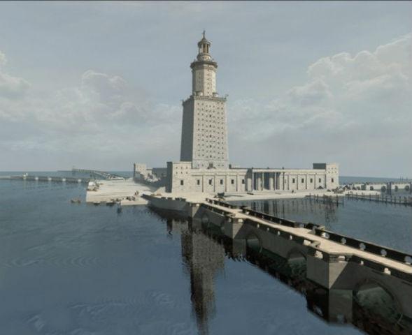 Великий маяк соединен с островом мостом