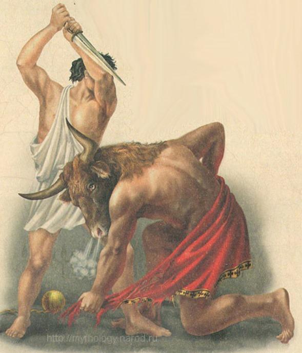 Тесей убивает Минотавра